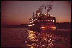 Paddlewheel Steamboat on the Ohio River 1972