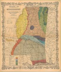 Geological Map of Mississippi 1855
