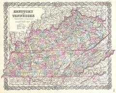 Kentucky and Tennessee Map 1855