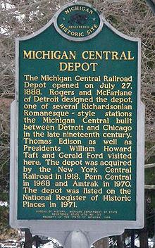 Michigan Central Depot Plaque