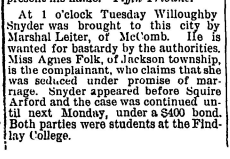 1892-06-23, Page 3, Hancock Courier_Willoughby Snyder arrested.jpeg