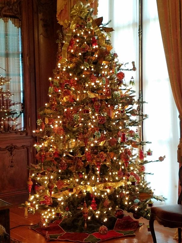 Christmas tree in Library at Marble House, Rhode Island