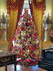 Christmas tree in Music Room at The Breakers in Rhode Island