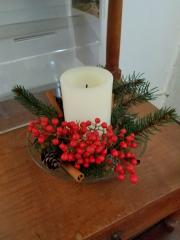 Candle and holly